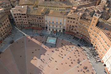 View from the tower in Siena, looking down at Il Campo